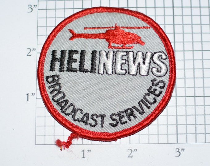 HeliNews Broadcast Services RARE Iron-On Vintage Embroidered Clothing Patch for Jacket Vest Shirt Hat Uniform Helicopter Pilot Media News