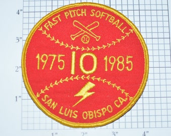 Fast Pitch Softball San Luis Obispo 1975 1985 Sew-On Vintage Embroidered Clothing Patch California CA Uniform Shirt Jersey Collectible e28j