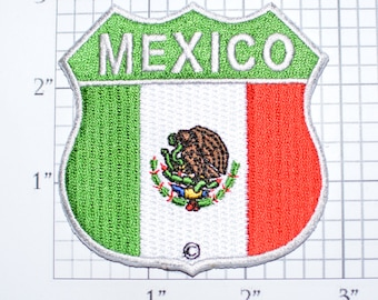 MEXICO Flag Shield Iron-On Embroidered Clothing Patch for Jacket Vest Jeans Shirt Backpack Travel Trip Souvenir Memorabilia Keepsake Mexican