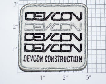 DEVCON Construction Sew-On Vintage Embroidered Clothing Patch Uniform Shirt Jacket Hat Emblem Logo Insignia Milpitas California Company e31J