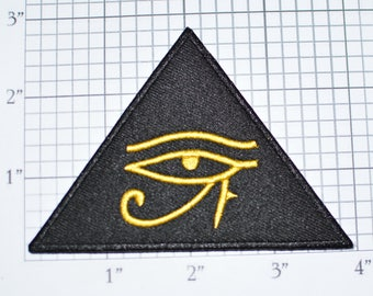 Eye of Horus Heru Iron-on Embroidered Patch Ancient Egyptian Symbol Sky God Goddess Wadjet Mystic Occult Strange Triangle Pyramid Hieroglyph