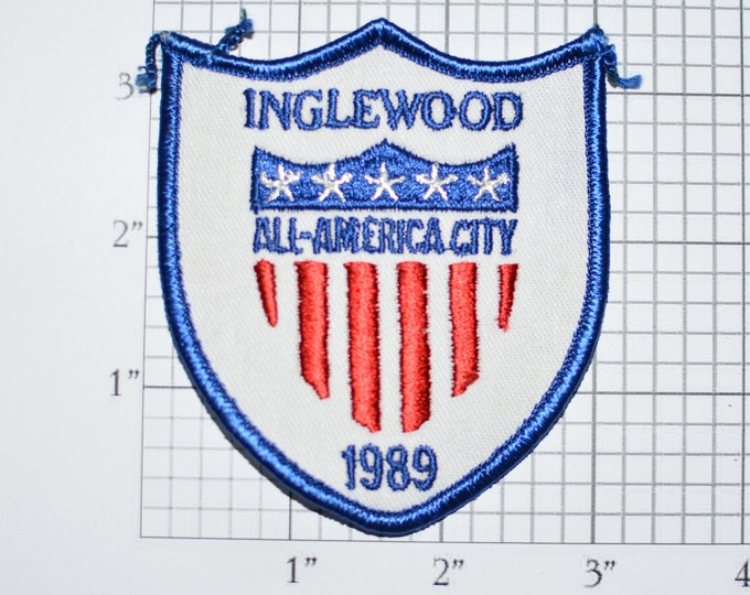 Inglewood California All-American City 1989 Iron-On Vintage Embroidered Clothing Patch Award Emblem CA National Civic League Pride Logo e28J