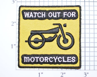 Watch Out for Motorcycles Iron-On Embroidered Clothing Patch for Biker Jacket Vest Shirt MC Yellow Caution Road Safety Warning Badge Emblem