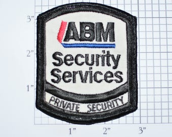 ABM Private Security Services Guard Sew-On Vintage Embroidered Uniform Shoulder Clothing Patch Jacket Vest Shirt Collectible Souvenir e32a