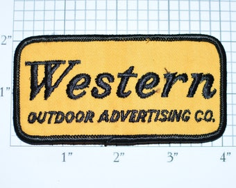 Western Outdoor Advertising Vintage Iron-On Embroidered Clothing Patch Uniform Shirt Jacket Vest Hat Billboard Sign Highway Ad Company e29n