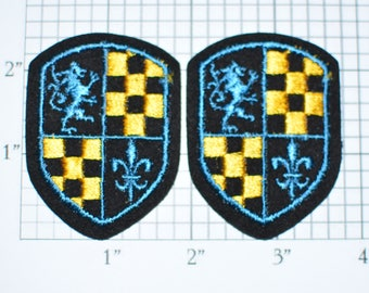 Coat of Arms (Lot of 20 pieces) Sew-On Vintage Embroidered Applique 1960s Lion Rampant Fleur De Lis Checkerboard Jacket Shirt England France