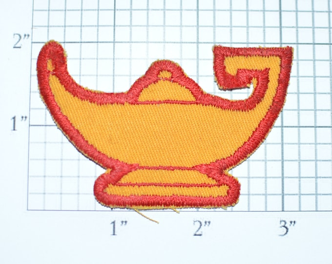 Genie Lamp Iron-On Vintage Patch Exotic Arabian Wish Persian Jacket Patch Vest Shirt Patch Fantasy Fairy Tale Collectible Applique e27r