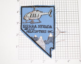 Sierra Nevada Helicopters Inc RARE Iron-On Vintage Embroidered Clothing Patch for Jacket Vest Shirt Hat Uniform Chopper Pilot Aircraft Logo