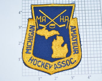 Michigan Amateur Hockey Association Vintage Sew-On Embroidered Clothing Patch for Jacket Jersey Shirt Backpack Detroit Sports Ice MAHA e30a