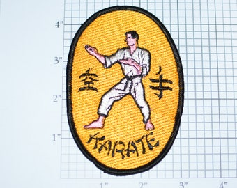 Karate Gold Background Martial Arts Vintage Embroidered Sew-On Clothing Patch Jacket Patch Vest Patch Shirt Patch Hat Patch e24a