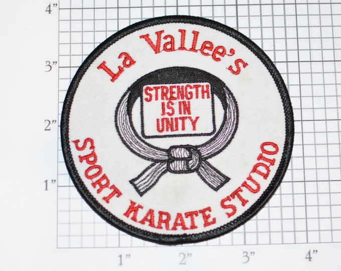 La Vallee's Sport Karate Studio Strength is in Unity RARE Martial Arts Vintage Embroidered Iron-On Clothing Patch Martial Arts Emblem Logo