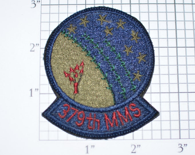 USAF 379th MMS Munitions Maintenance Squadron Wurtsmith AFB Oscoda Michigan Iron-On Vintage Embroidered Patch Subdued Emblem Insignia e27d