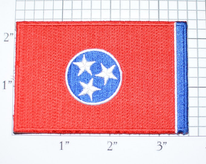 Tennessee State Flag Iron-On Vintage Embroidered Travel Patch Emblem Badge, Trip Souvenir Gift Idea Collectible Vacation e26a