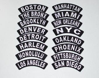 Location Tab Rocker Iron-on Embroidered Patches Travel Trip Souvenir for Motorcycle Biker MC Jacket Vest Shirt Hat Hometown USA Cities Pride