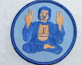 Blue Buddha Iron On Patch Embroidered Patch Cool Hippie Vintage Patch Hot Yoga Patch for Jacket Patch Pants Jeans Patch Vest Backpack s5