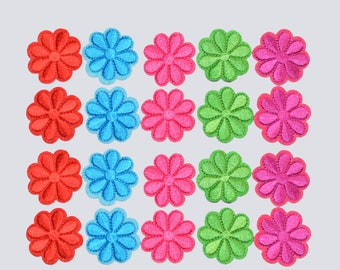 Flower Iron-on Patch Applique Lot of (20 Pieces, Choose Color) Great for Clothing Embellishment Dolls, Cards, Crafts Cute Fun DIY Accent ap3