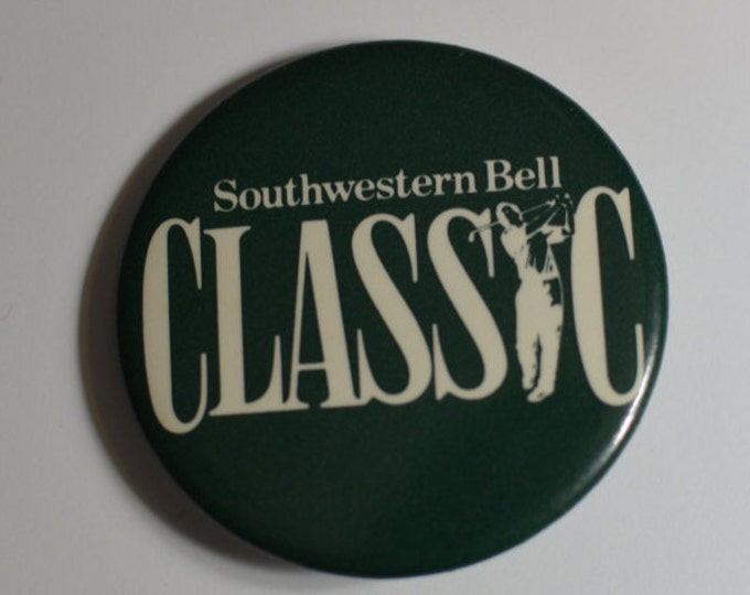 Southwestern Bell Classic - Vintage Pinback Button - 1988-1994 Golf Tournament Kansas City Champions Tour Silver Pages Classic Green Pin