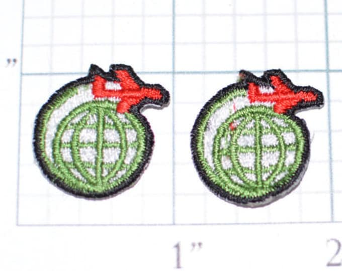 Lot of 2 World Traveler Iron-On Vintage Appliqué Airline Pilot Plane & Globe Embroidered Sewing Clothing Shirt Patch Flight Attendant ap1