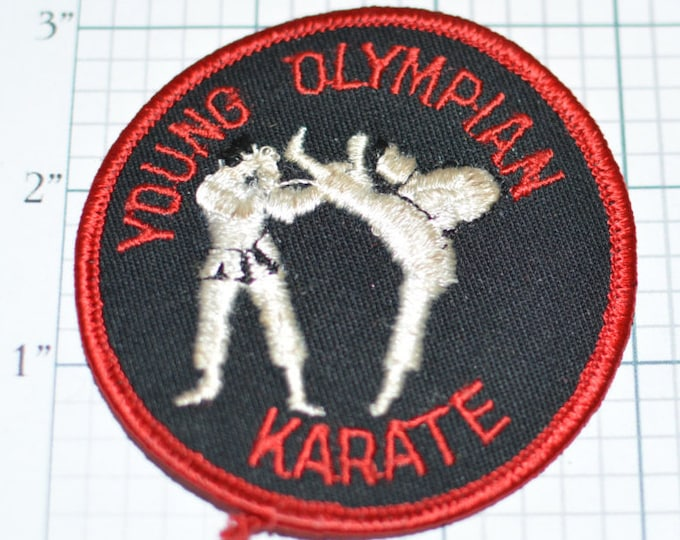 Young Olympian Karate - Martial Arts Vintage Embroidered Iron-On Clothing Patch Jacket Patch Rare Collectible Shirt Patch Hat Patch f1n