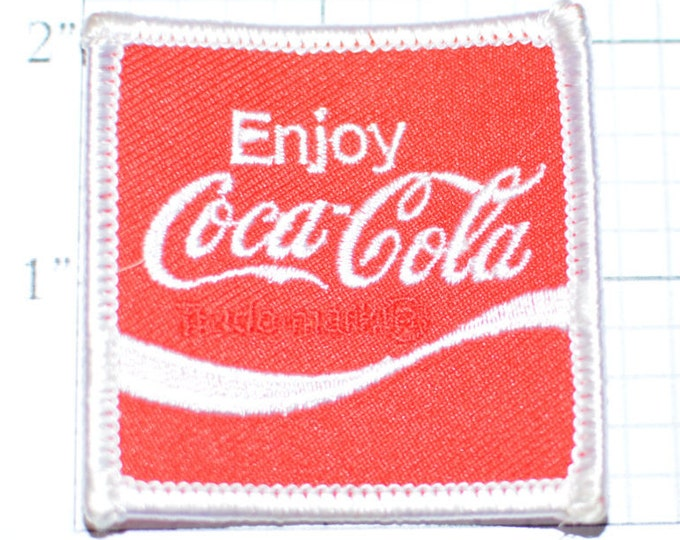 """Enjoy Coca Cola Authentic Vintage Iron-On Patch Red Background Coke Company Formed 1886 - 2"""" Square Patch  s9"""