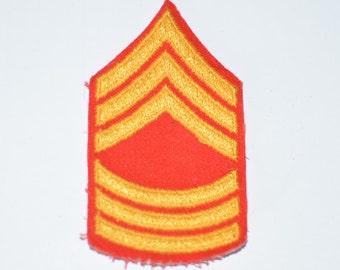US Marine Corps USMC Chevron Insignia Vintage Sew-On Patch Master Sergeant Rank Uniform Shoulder Jacket Vest Shirt Military Gift Veteran