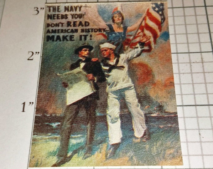 James Montgomery Flagg The Navy Needs You! Don't Read American History - Make It! WW1 Circa 1917 Ultra RARE Iron-On Clothing Patch Military