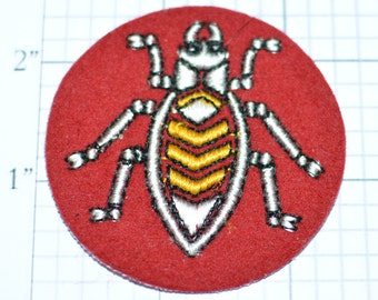 "Beetle Sew-On Embroidered Vintage Clothing Patch - 2-1/2"" Round - Bug Insect Nature Creepy Critter Fun Cool Accessory  e17n"