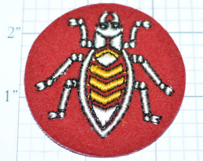 """Beetle Sew-On Embroidered Vintage Clothing Patch - 2-1/2"""" Round - Bug Insect Nature Creepy Critter Fun Cool Accessory  e17n"""