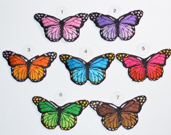 Butterfly Iron-on Patches, Pink Purple Orange Blue Red Green Brown Patch for Jeans Patch Jacket Patch Backpack Patch Embroidered Patch ap3