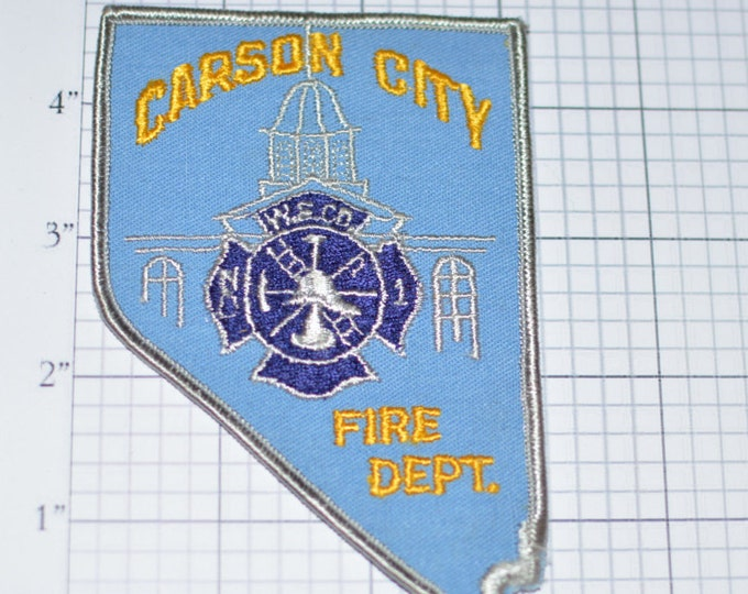 Carson City Nevada NV Fire Department - Iron-On Embroidered Vintage Patch *Limited Stock* Helmet Ladder Hose  fd2