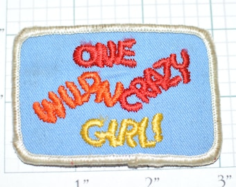One Wild N Crazy Girl Sew-On Vintage Embroidered Clothing Patch Novelty Funny Conversation Starter Women DIY Clothes Emblem Logo