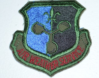Vintage Sew-On Embroidered Uniform Patch USAF Weather Service 557th Wing Military Air Force Offutt AFB Meteorology Militaria Anemometer bb2
