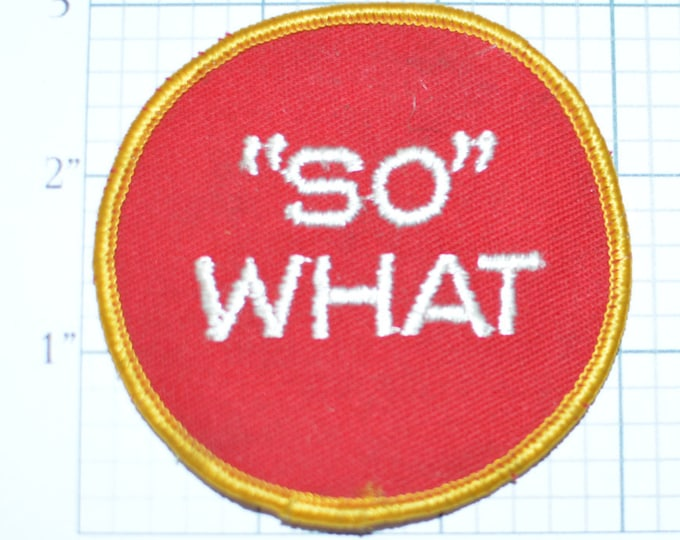 SO WHAT - That's Right to the Point! - Vintage Embroidered CLothing Patch - Bold Brash Sassy Funny Biker 1970s Confident  e10a