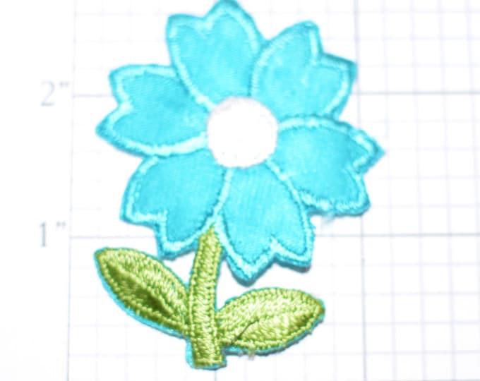 Pretty Blue Flower Iron-on Vintage Applique Patch for Sundress Bag Purse Jacket Shirt Hat Craft Project Apparel Idea Girl Gardening Cute DIY
