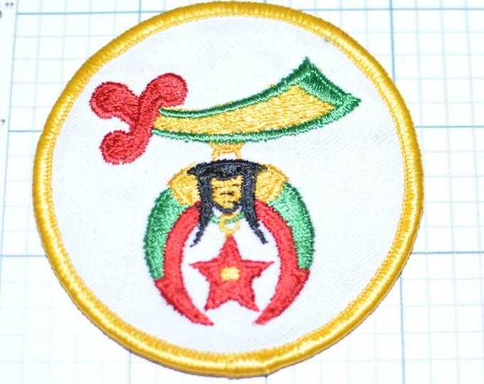 Shriners Iron-On Vintage Patch Masonic Freemason Freemasonry Scimitar Crescent Moon Star Sword Red Fez Childrens Hospitals e19L