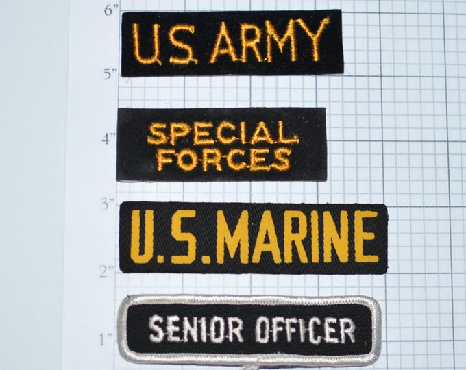 Vintage Military Embroidered Patches for Uniform Shirt Jacket US Army Special Forces Senior Officer Branch Tape Gift Idea Veteran Cosplay e5