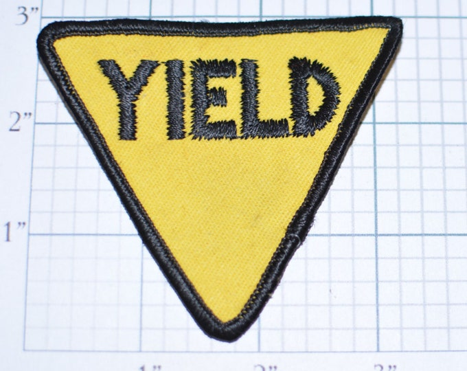 YIELD Yellow Iron-on Embroidered Vintage Clothing Patch - Fun Road Sign Caution Danger Beware Stop Slow Look Out Traffic Driver e17j