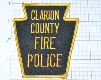 Clarion County Pennsylvania Fire Police - RARE Iron-On Embroidered Vintage Patch *Limited Stock*  fd2
