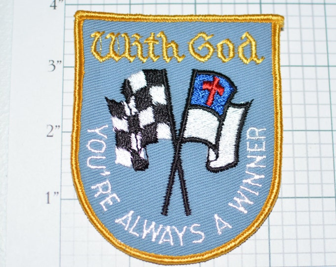 With God You're Always a Winner Sew-On Vintage Patch Racing Racer Auto Motorsports Faith Bible Studies - e13  **Limited Stock**
