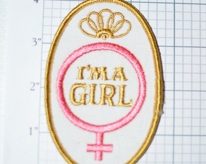 I'm A Girl Cute Vintage Embroidered Sew-on Patch Baby Clothing Toddler Newborn Female Venus Symbol Blanket Jeans Baby Gender Reveal Idea e11