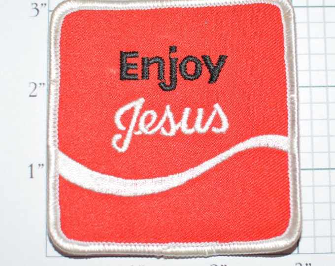 """ENJOY JESUS Rare Vintage 3"""" Iron-On Patch Religious Christian Patch Jacket Patch Vest Patch Backpack Patch Jeans Patch Embroidered Patch s20"""