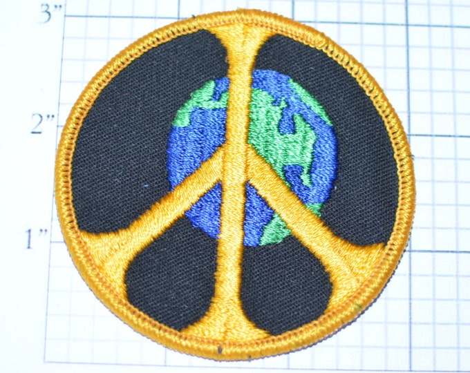 """World Peace Iron-on Embroidered Clothing Patch 3"""" Save The Earth Hippie Boho Bohemian DIY Fashion Accent Antiwar Pacifist Dove Peaceful Logo"""