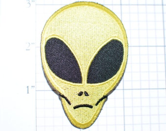 Yellow Alien Head Iron-on Clothing Patch for Motorcycle Biker Jacket Vest Shirt Backpack Jeans Purse Bag Fun Outer Space Invader Area 51