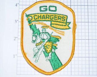 GO CHARGERS - Sew-On Patch, Vintage Patch, Knight Patch, Sports Patch, Jousting Patch, Fun Patch, Cool Patch, Embroidered Patch, Cute e11