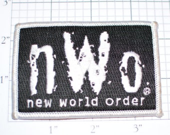 nWo New World Order - Licensed Iron-on Wrestling Clothing Patch Silver on Black s6