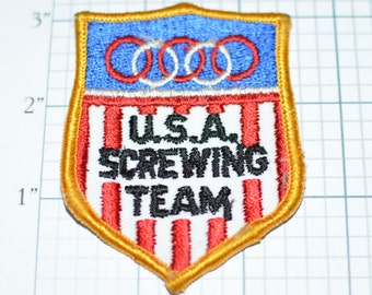 USA Screwing Team Funny Vintage Embroidered Patch For Backpack Patch Jeans Patch Jacket Patch Vest Patch Biker Patch Motorcycle Patch e7