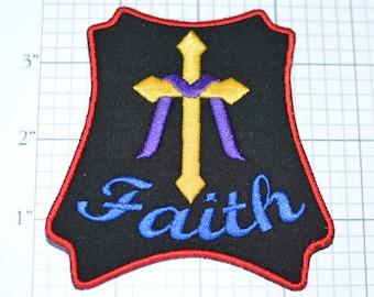 Faith - Cross Wrapped in Purple Sash - Iron-On Patch - Christian Motorcyclist - Biker Jacket Vest Motorcycle Rider Jesus Christ God Religion