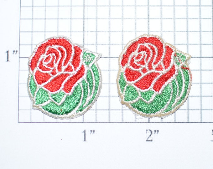 Red Rose (Set of 2) Iron-On Applique Embroidered Patch Joy Insignia Backpack Patch Jeans Patch Hat Patch Shirt Patch Clothing Patch e21d
