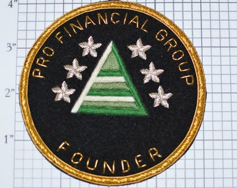 Pro Financial Group FOUNDER Rare Sew-on Patch Embroidered Patch Metallic Gold and Silver Thread Jacket Patch Hat Patch Shirt Patch e22k