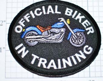 Official Biker in Training - Blue Motorcycle - Iron-On Patch Biker Patch Jacket Patch Vest Patch Jeans Patch Jacket Patch -  ozb